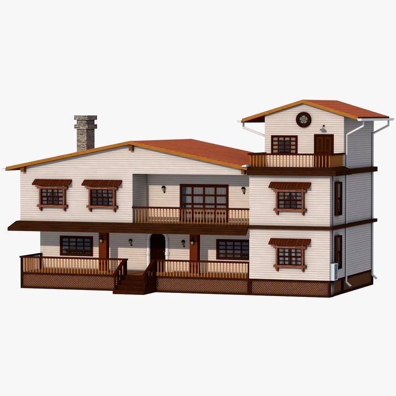 wooden family house exterior 3D