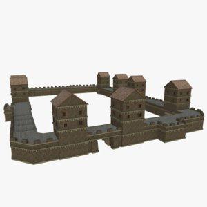 medieval city walls 3D model