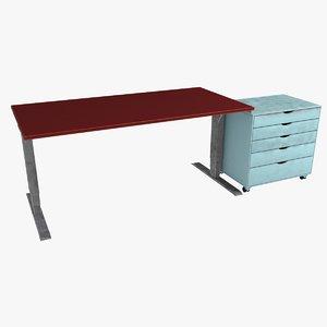 3D red desk office cabinet