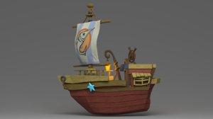 cartoon boat 3D