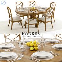 3D hooker retropolitan table chairs