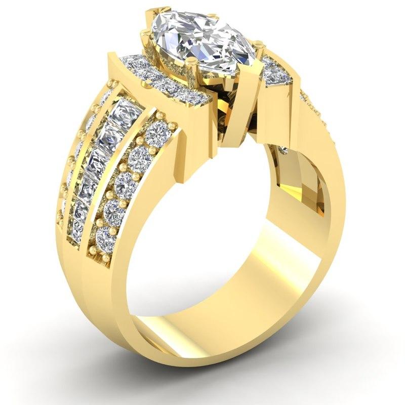 3D model marquise shaped diamonds