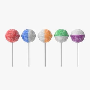 3D model realistic sugar lollipops
