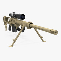 CheyTac M200 Long Range Sniper Rifle System Desert 3D Model