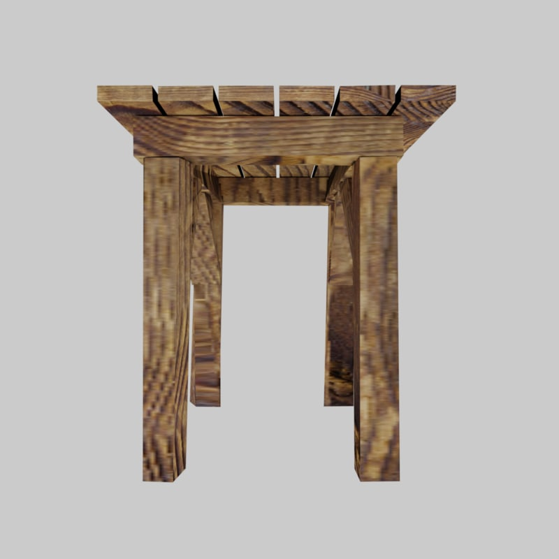 3D texturized wooden table model