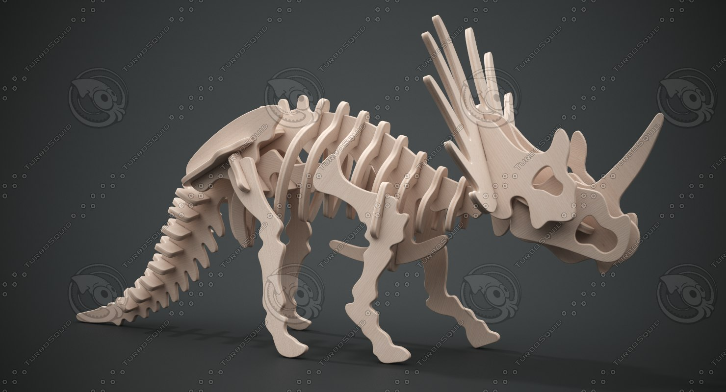 3D styracosaurus wooden model