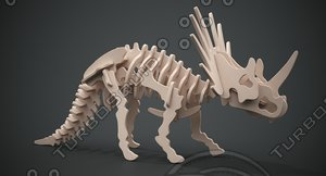 3D styracosaurus wooden model
