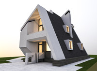 3D model modern private house building