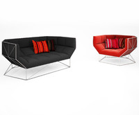 foxhole armchair sofa 3D model