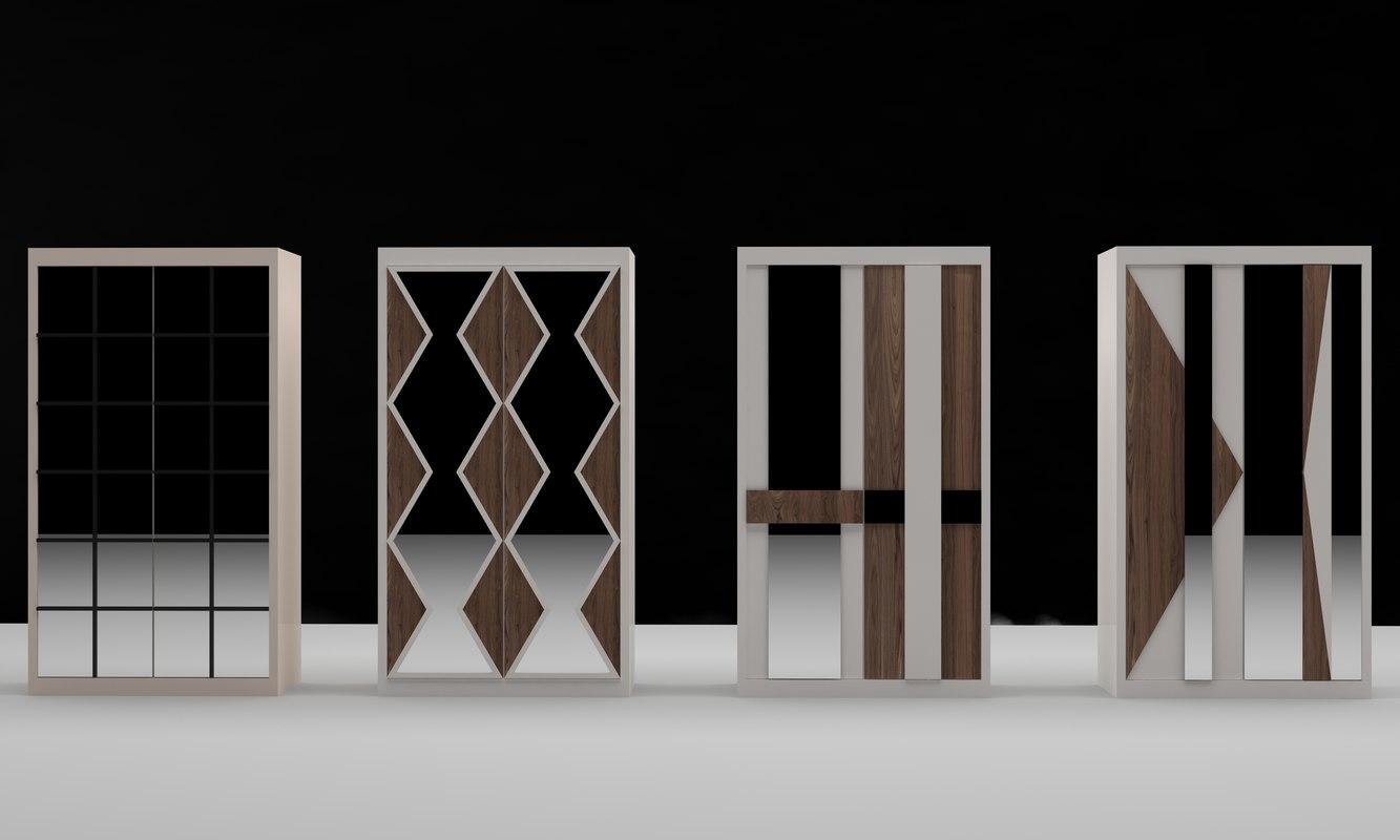 3D white wood model