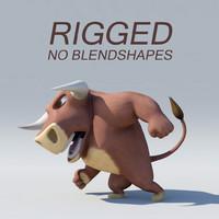 3D rigged bull model