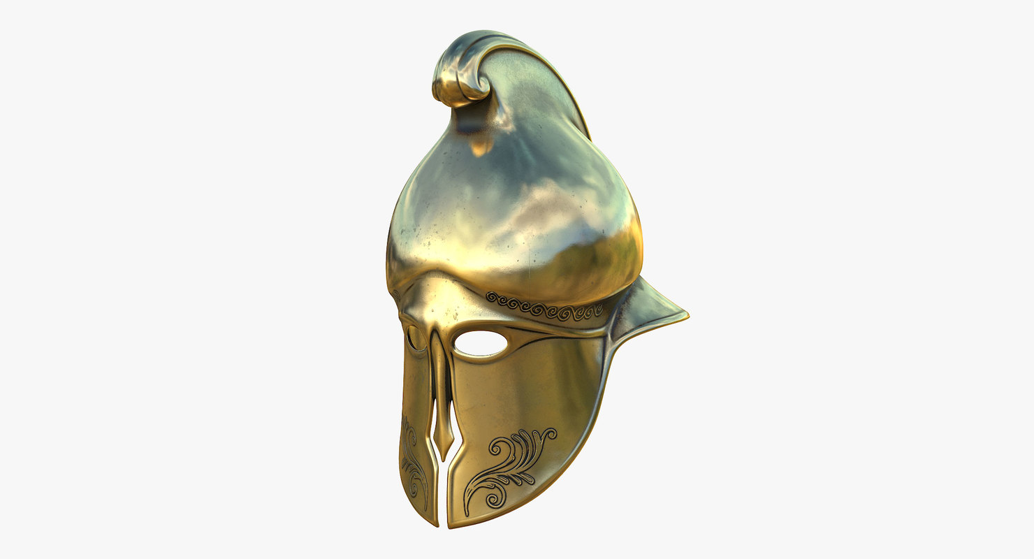 3D helmet greek gold