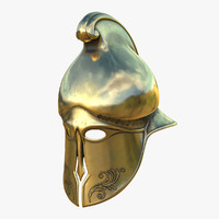 3D helmet greek gold