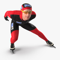 speed skater rigged 3D