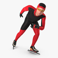 3D speed skater generic rigged
