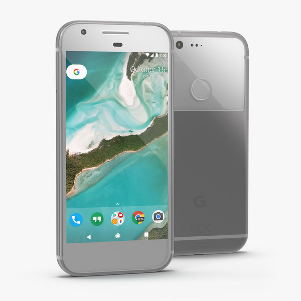 3D google pixel phone silver model
