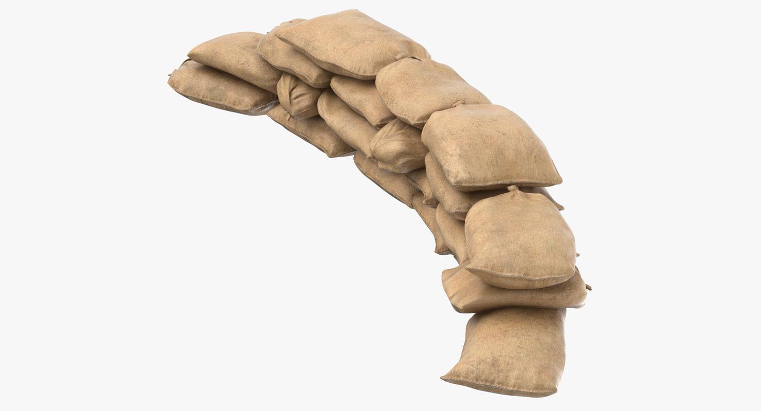 3D sandbag barricade 01