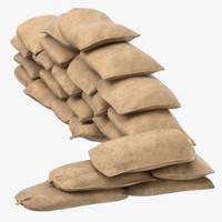 sandbag barricade 02 3D