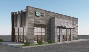 3D starbucks coffee shop model