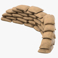 3D sandbag barricades 03 model