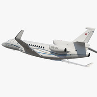 Business Long Range Trijet Dassault Falcon 7X Rigged