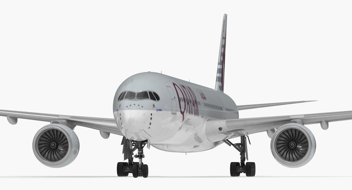 3D airbus a350-1000 qatar rigged model