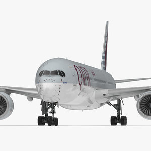 3D airbus a350-1000 qatar rigged model