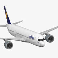 3D model airbus a350-1000 lufthansa rigged