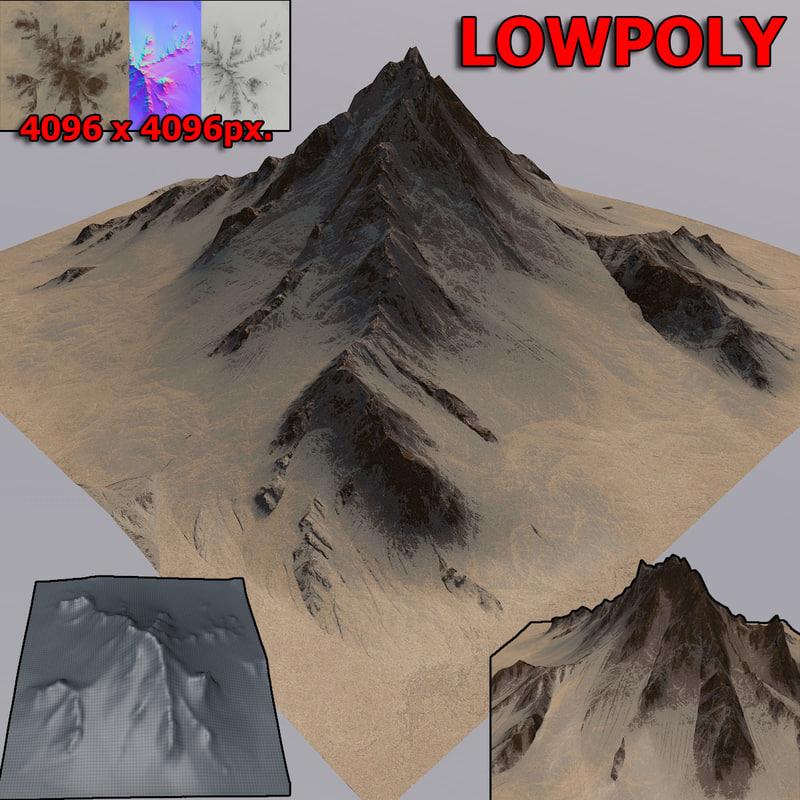 3D desert mountain model