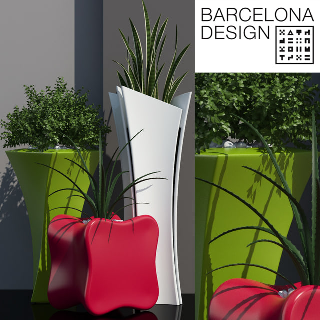 3D barcelona design flowerpots set model