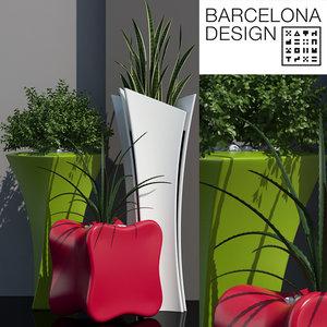 3D barcelona design flowerpots set model