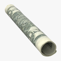 single tightly rolled dollar 3D model