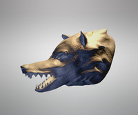 3D hungry wolf model