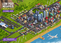 Low Poly Megapolis City Premium Pack (Landscape, Buildings, Airport)