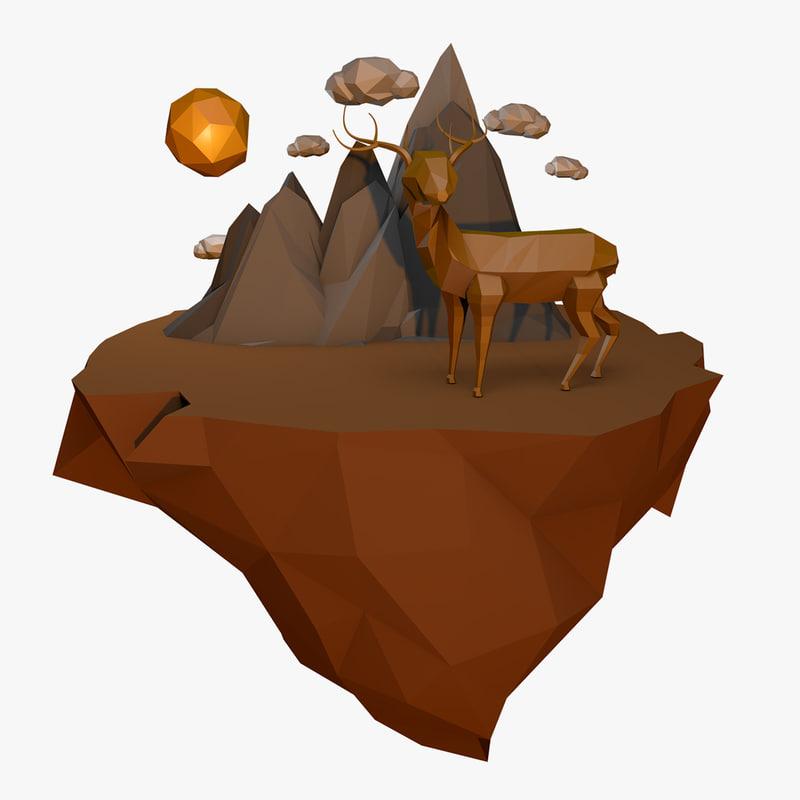 deer landscape 3D model