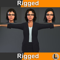 3D waitress rig animator model