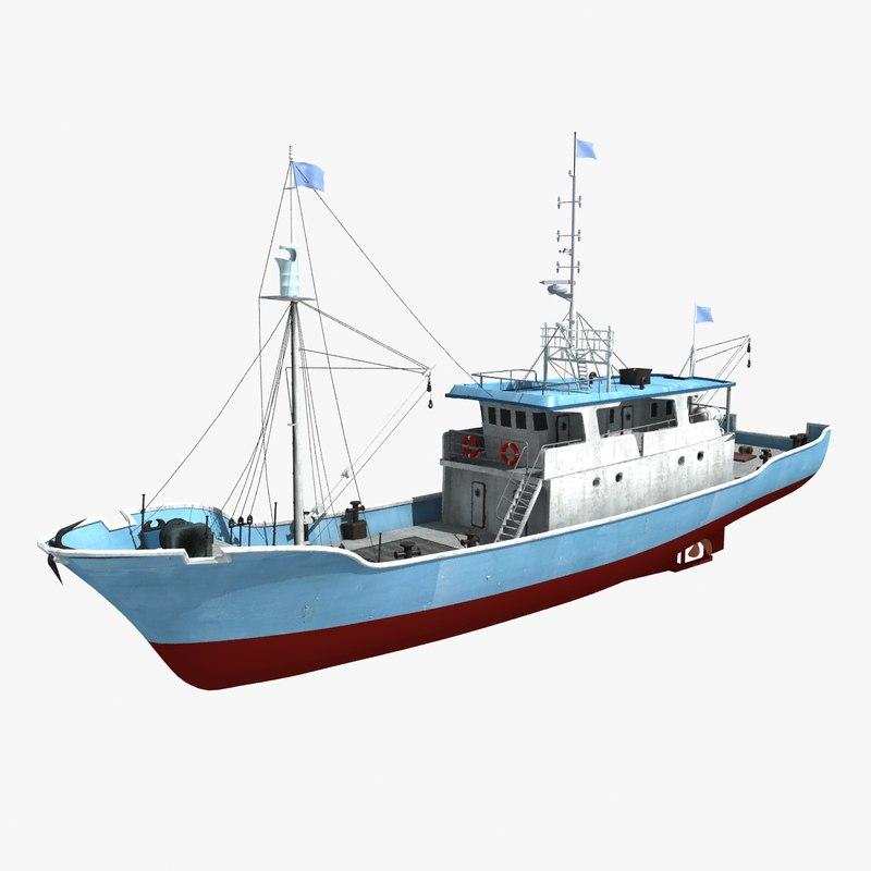 boat ship fish 3D