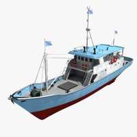 boat ship fish 3D model