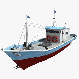 3D boat ship fish