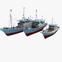 3D boat ship fish model