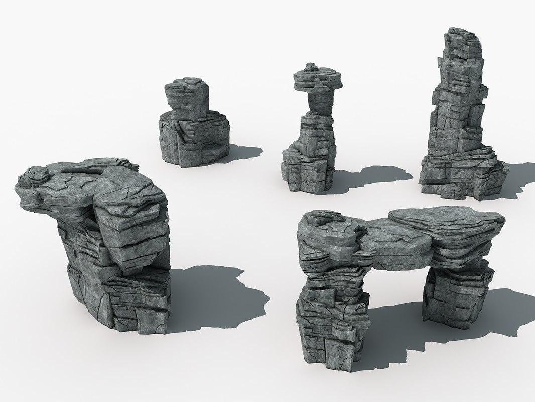3D rocks boulder model