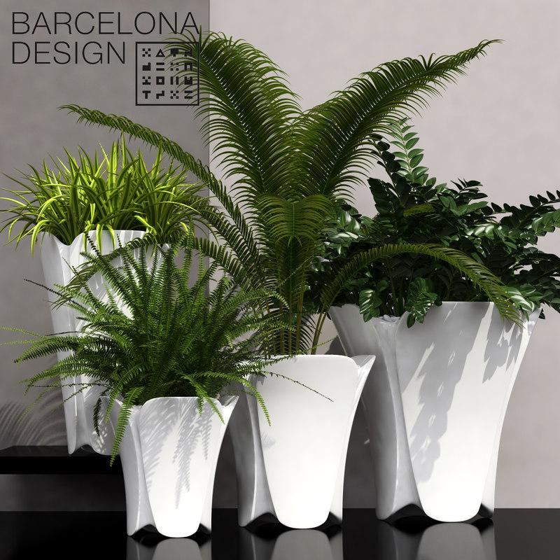 3D barcelona design flowerpots set