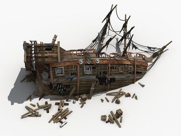 3D wreckage ship shipwreck