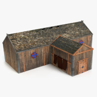 3D model viking longhouse