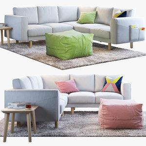 3D four-seat sofa ikea norsborg model