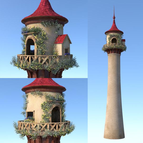 3D tower cartoon fairy