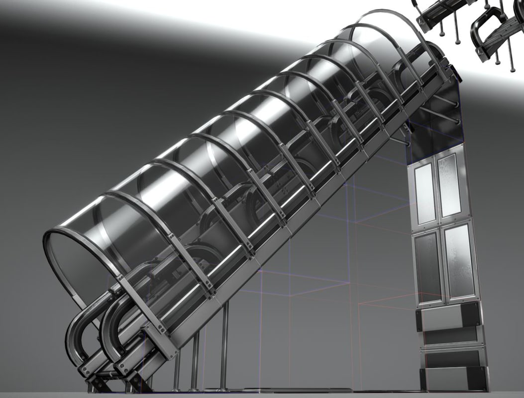 silver stairs floor wall 3D model