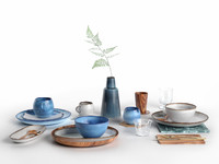 3D model tableware set bloomingville