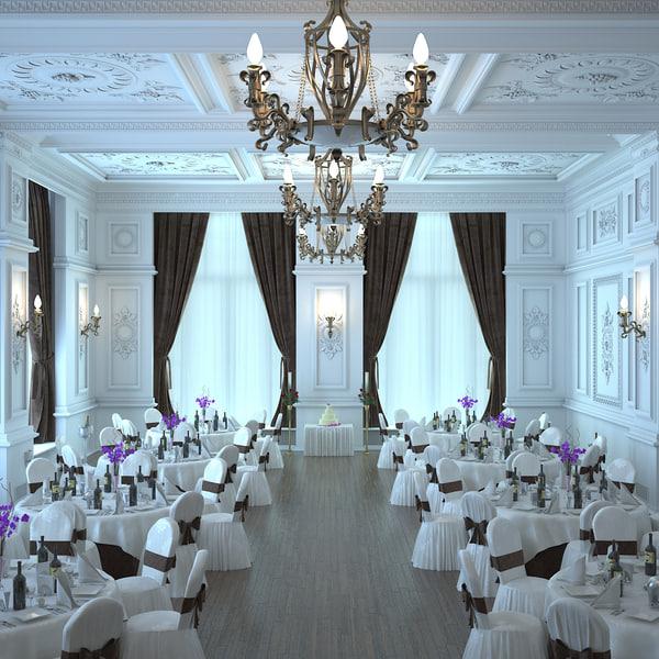 3D ballroom interior