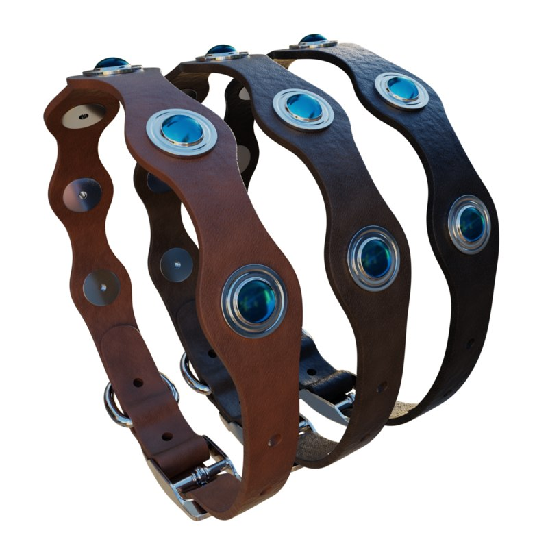 3D leather dog collar model